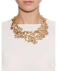 Oscar de la Renta - Metallic Russian Gold Cascading Gingko Leaf Necklace - Lyst