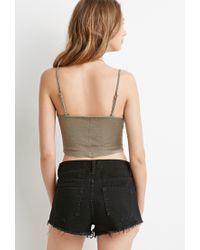 Forever 21 - Green Mineral Wash Cropped Cami - Lyst