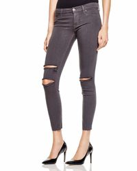 Hudson Jeans - Gray Krista Ankle Skinny Jeans In Equinox Destructed - Lyst