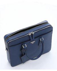 Prada - Dark Blue Saffiano Leather Top Handle Briefcase for Men - Lyst