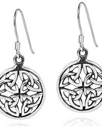 Aeravida | Metallic Round Triquetra Knot Medallion .925 Silver Earrings | Lyst