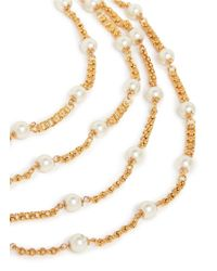 Kenneth Jay Lane | Metallic Pearl And Chain Multi Tier Necklace | Lyst
