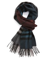 Burberry - Blue Check Cashmere Scarf for Men - Lyst