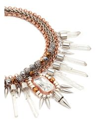 Assad Mounser - Metallic 'rex' Mineral Crystal Spike Collar Necklace - Lyst