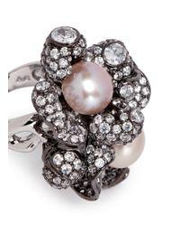 Anabela Chan - Pink 'blossom Pearl' Diamond Pavé 18k Black Gold Ring - Lyst