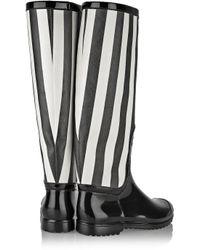 Dolce & Gabbana - Black Striped Faux Patent-Leather Rain Boots - Lyst