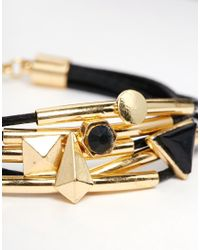 ASOS - Black Leather Cord Bracelet Stack - Lyst