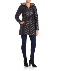 Laundry by Shelli Segal | Black Packable Puffer Coat | Lyst