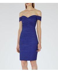Reiss - Blue Forley Bodycon Off-shoulder Dress - Lyst