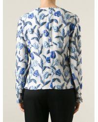 Armani - Blue Tulip Jacquard Blazer - Lyst