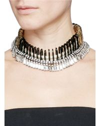 Venna | White Chain Link Resin Pearl Crystal Fringe Necklace | Lyst