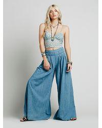 Free People - Blue Womens Everleigh Slit Wideleg - Lyst