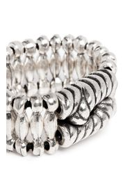 Philippe Audibert | Metallic 'ethan' Rope Bead Elastic Ring | Lyst