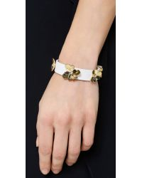 kate spade new york - Pansy Blossoms Leather Bracelet - White - Lyst