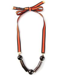 Marni | Red Ribbon Necklace | Lyst