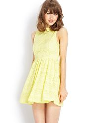 Forever 21 | Yellow Retro Lace Dress | Lyst