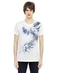 Balmain | Blue Phoenix Printed Cotton T-shirt for Men | Lyst