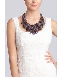 Natori   Purple Beaded Bib Necklace   Lyst