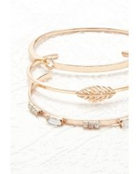 Forever 21 - Metallic Feather Cuff And Bracelet Set - Lyst