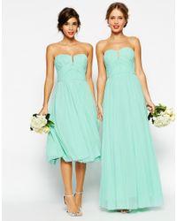 ASOS | Wedding Ruched Bandeau Maxi Dress - Green | Lyst