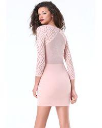 Bebe - Pink Celestia Lace Dress - Lyst