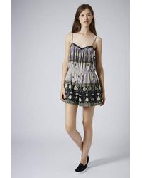 TOPSHOP - Multicolor Crinkle Strappy Playsuit Multi - Lyst
