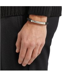 Bottega Veneta - Metallic Intrecciato Leather and Sterling Silver Cuff for Men - Lyst