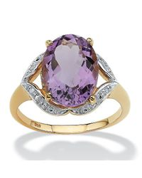 Palmbeach Jewelry - Metallic 5.20-carat Oval-cut Genuine Amethyst With Diamond Accents 18k Gold Over Sterling Silver Ring - Lyst