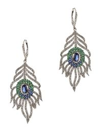 Kenneth Jay Lane | Metallic Pave Feather Earrings | Lyst