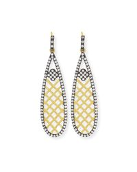 Freida Rothman | Metallic 14k Vermeil Cz Basket Weave Teardrop Earrings | Lyst
