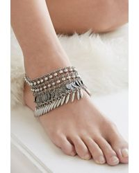 Forever 21 | Metallic Medallion Fringe Beaded Anklet | Lyst