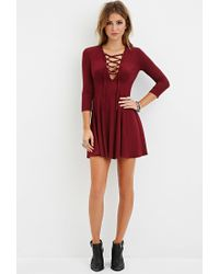 97c92d8bc4 Lyst - Forever 21 Lace-up Skater Dress in Purple
