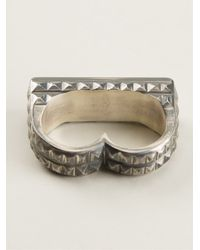 Vj By Vanni Pesciallo | Metallic 'iratus' Double Ring | Lyst