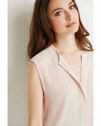 Forever 21 - Pink Contemporary Crepe Popover Blouse - Lyst