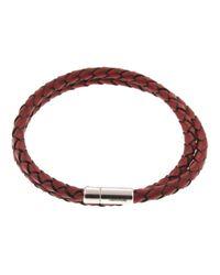 Tateossian   Metallic Silver Pop Red Leather Bracelet for Men   Lyst