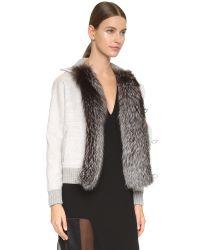 Prabal Gurung - Gray Coat With Fox Fur Trim - Heather Grey - Lyst