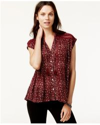 Lucky Brand | Red Lucky Brand Cap-sleeve Printed Crochet-detail Top | Lyst