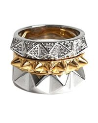 Noir Jewelry | Metallic Stack Pyramids Ring Set | Lyst