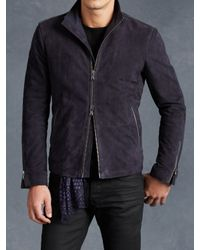 John Varvatos | Blue Goat Suede Racer Jacket for Men | Lyst