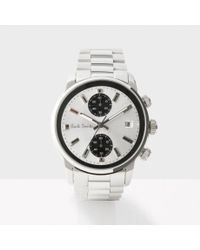 paul smith men s white and silver block chronograph watch in paul smith
