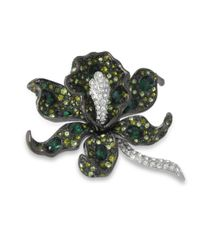 Kenneth Jay Lane | Multicolor Multi Green Orchid Brooch | Lyst