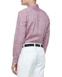 Ermenegildo Zegna | Pink Linen Sport Shirt Wine for Men | Lyst