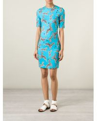 Markus Lupfer | Blue Zebra Print Fitted Dress | Lyst