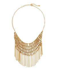 Lydell NYC | Metallic Fringe Crochet Bib Necklace | Lyst