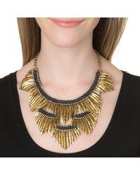 Deepa Gurnani | Metallic Feather Bib Necklace, Gold | Lyst