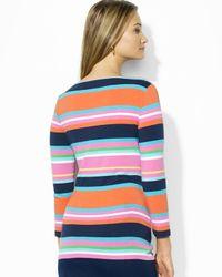Ralph Lauren - Multicolor Lauren Petites Stripe Boat Neck Top - Lyst