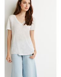 Forever 21 | Natural Contemporary Heathered V-neck Tee | Lyst