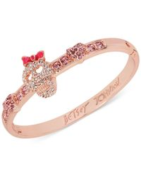 Betsey Johnson | Pink Rose Gold-Tone Pavé Skull Hinged Bangle Bracelet | Lyst
