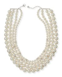 Majorica - White Four-Strand Manmade Pearl & Crystal Necklace - Lyst