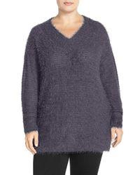 Sejour - Gray 'happy' Eyelash Yarn V-neck Sweater - Lyst